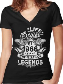 50th Birthday Gift - 1966 The Birth Of Legends Shirt Women's Fitted V-Neck T-Shirt