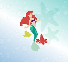 three friends in color.. ariel, sebastian, flounder by chicamarsh1