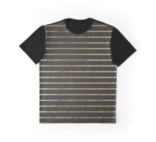 Elegant Chic Yellow Gold Stripes and Black Graphic T-Shirt