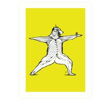 Yogi bear pose - Warrior 2  Art Print