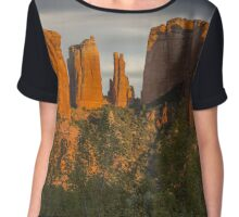 Cathedral Rocks at Sunset with Moon Sedona Arizona Chiffon Top