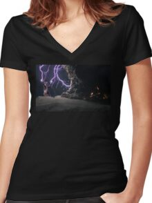 Cat Lightning  Women's Fitted V-Neck T-Shirt
