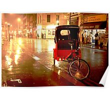A rickshaw in the rain on Old Compton Street (Soho, London) Poster