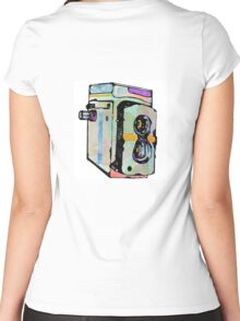 Water Colour Vintage Camera Women's Fitted Scoop T-Shirt