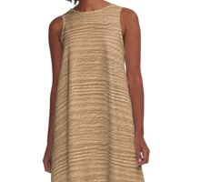 Desert Mist Wood Grain Texture A-Line Dress