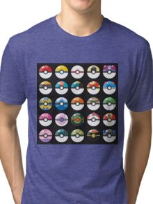 Pokemon Pokeball Black Tri-blend T-Shirt