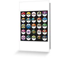 Pokemon Pokeball Black Greeting Card