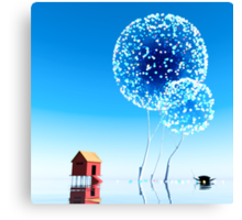 Small house and magical trees. Canvas Print