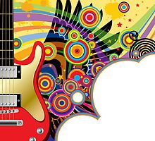 Background with a red guitar by maystra