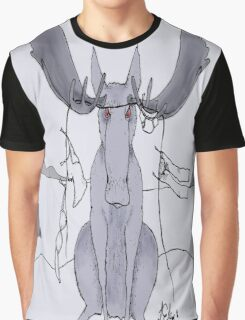 Angry Moose Stuck In A Clothesline Graphic T-Shirt