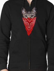 Gangster Cat Zipped Hoodie