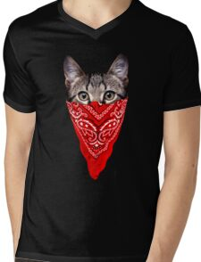 Gangster Cat Mens V-Neck T-Shirt