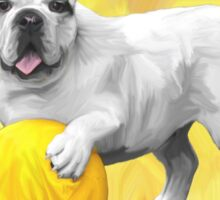 Bulldog Playing with Ball Watercolor Art Painting Sticker