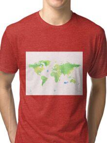Green planet World map Tri-blend T-Shirt