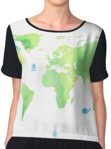 Green planet World map Chiffon Top