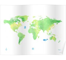 Green planet World map Poster