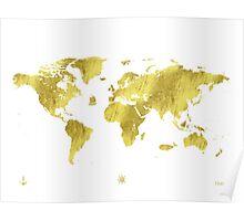 Golden ONE Wolrd map Poster