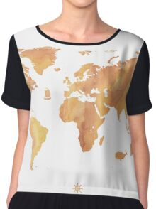World map stone watercolor Chiffon Top
