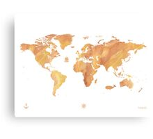 World map stone watercolor Canvas Print