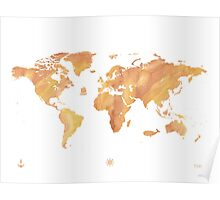 World map stone watercolor Poster