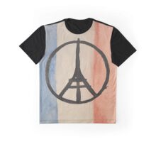 Paris Peace Symbol Eiffel Tower French Tricolor Graphic T-Shirt