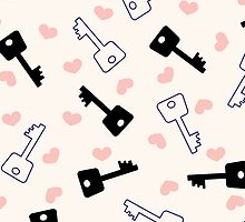 stylized keys and hearts by -ashetana-