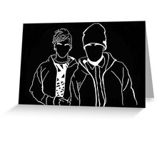 Twenty One Pilots Black and White Tumblr Inspired Outline Greeting Card