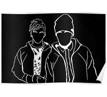 Twenty One Pilots Black and White Tumblr Inspired Outline Poster