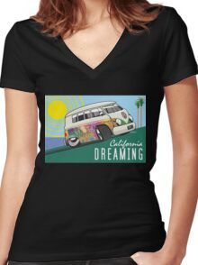 VW T1 cartoon California dreaming Women's Fitted V-Neck T-Shirt