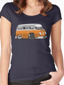VW T2 Microbus cartoon orange Women's Fitted Scoop T-Shirt