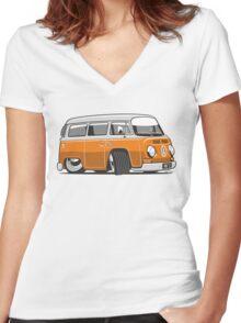 VW T2 Microbus cartoon orange Women's Fitted V-Neck T-Shirt