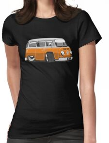 VW T2 Microbus cartoon orange Womens Fitted T-Shirt