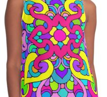 Artistic Stained Glass Pattern Contrast Tank