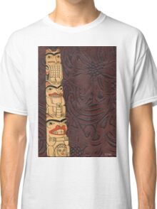 Native American Indian Totem Pole Leather Classic T-Shirt