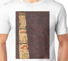 Native American Indian Totem Pole Leather Unisex T-Shirt
