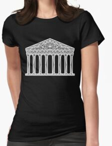 Geometric Pantheon in grey with white outline Womens Fitted T-Shirt