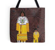 Native American Indian Family Leather Tote Bag