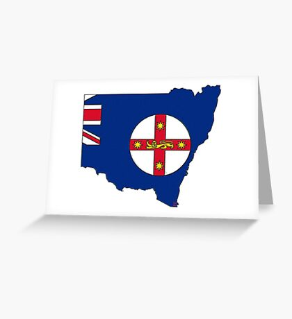 New South Wales Australia Map With Flag Greeting Card