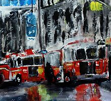 Fire Trucks New York Firefighters Acrylic Contemporary Painting by JamesPeart