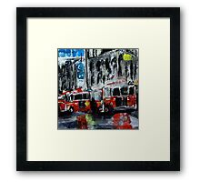 Fire Trucks New York Firefighters Acrylic Contemporary Painting Framed Print