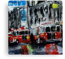 Fire Trucks New York Firefighters Acrylic Contemporary Painting Canvas Print