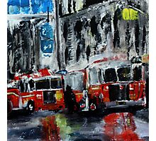 Fire Trucks New York Firefighters Acrylic Contemporary Painting Photographic Print