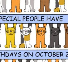 Cats celebrating October 2nd Birthday. Sticker