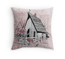 Old Country Horse Barn Pink Floral Throw Pillow