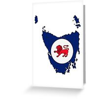 Tasmania Australia Map With Tasmanian State Flag Greeting Card