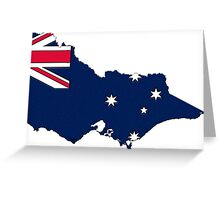 Victoria Australia Map With Victoria State Flag Greeting Card