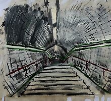 London Underground Urban Cityscape Subway Station Contemporary Acrylic Painting by JamesPeart
