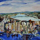 Boston Cityscape Massachusetts East Coast United States Contemporary Acrylic Painting by JamesPeart