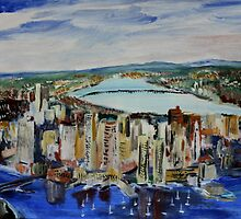 Boston Cityscape Massachusetts East Coast United States Contemporary Acrylic Painting by JamesPeart