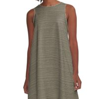 Desert Taupe Wood Grain Texture Color Accent A-Line Dress